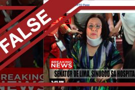 FALSE: De Lima 'rushed to hospital,' wears neck brace