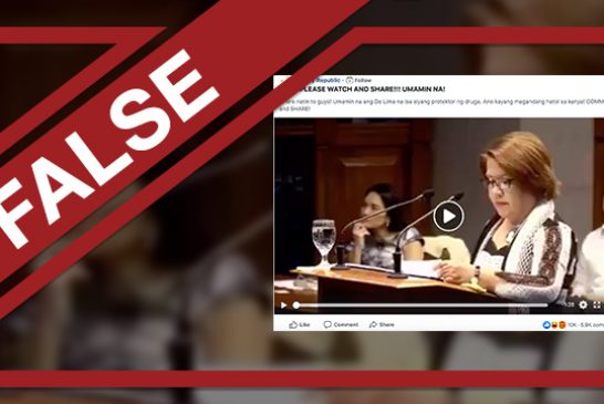 FAKE NEWS ALERT: De Lima admitted that she's a protector of drug lords in the New Bilibid Prison.